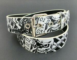 Black-and-White-Biker-Skulls-Print-Belt-Bonded-Leather-Rock-Rebel-Emo-Punk-Rock