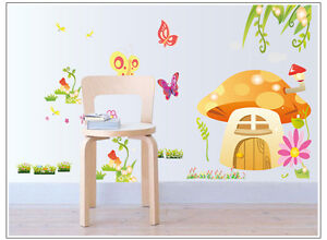 wandtattoo wandaufkleber kinderzimmer schmetterling m rchen blume pilzhaus d008 ebay. Black Bedroom Furniture Sets. Home Design Ideas