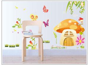 wandtattoo wandaufkleber kinderzimmer schmetterling m rchen blume pilzhaus d008 ebay. Black Bedroom Furniture Sets. Home Design Ideas