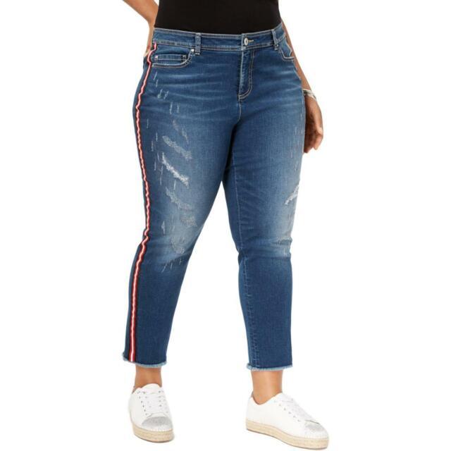 INC Womens Blue Medium Wash Racing Strip Ankle Jeans Trousers Plus 16W BHFO 8464