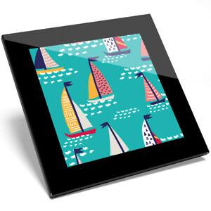 1 X Coloré Voiliers Verre Coaster-cuisine étudiant Qualité Cadeau #8349-afficher Le Titre D'origine