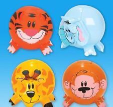 "(4) INFLATABLE ZOO ANIMAL SHAPE BEACH BALLS 12"" Safari Jungle Pool Party #AA21"