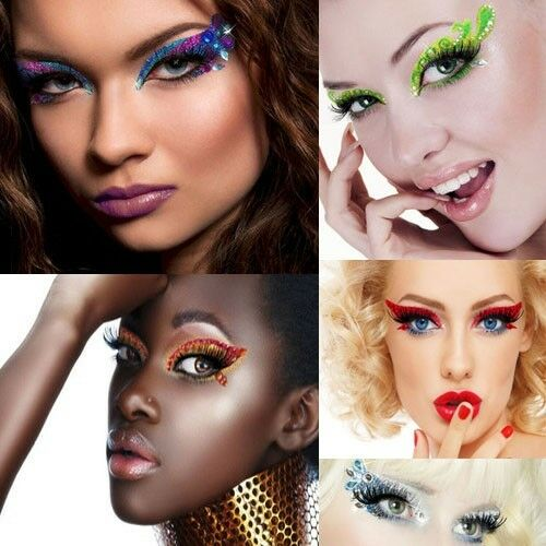 Sexy Xotic Eyes Self Adhesive Eye Makeup Strips Rhinestone Crystals Costume Kit