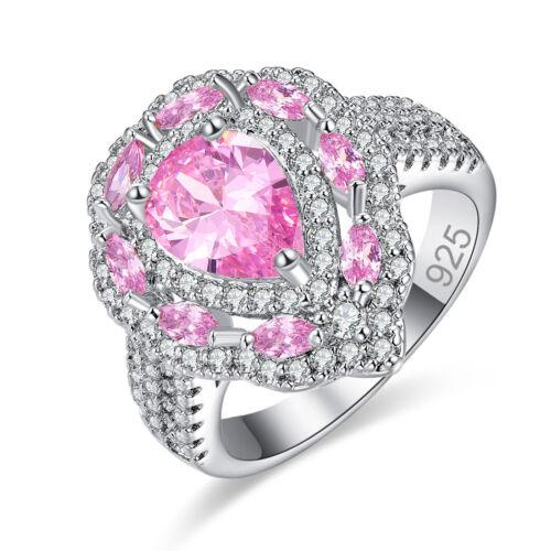 Pear Cut Gorgeous Citrine /& Pink /& White Topaz Gemstone Silver Ring Size 6 7 8 9