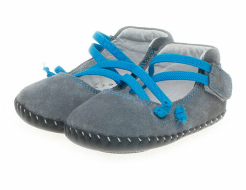 Little Blue Lamb Baby Shoes Learn-to-Walk Ballerinas Suede Grey New