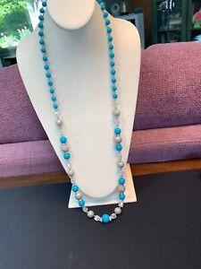 Vintage-36-Glass-Aurora-Borealis-Crystal-Rhinestone-Silver-Turquoise-Necklace