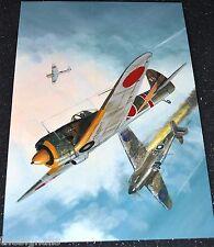 WWII Aircraft Ki-43 Oscar shooting down a Hurricane Large Postcard