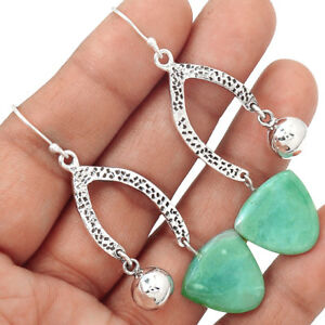 Mtorolite-Emeral-Chrysoprase-925-Sterling-Silver-Earrings-Jewelry-EE150379