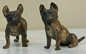 Bronze-de-vienne-fin-XIX-eme-couple-de-Bouledogue-Miniature-rare-geschutzt