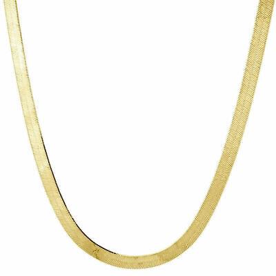 10k Gelbgold Massive Halskette Seidig Fischgräten 4mm Kette 40.6-61cm Neu