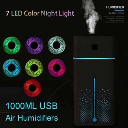 1000ML Ultrasonic Air Humidifier Aroma Essential LED Night Light Mist Purifier