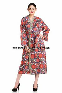 da0c457b16 Women s 100% Cotton Hand Block Print Blue Floral Spa Kimono Robe ...