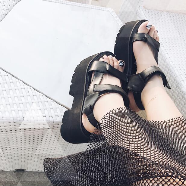 Fashion Women Platform Wedge Heels Creeper Shoes Gothic Punk Peep Toe Sandals