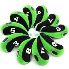 3-PW Number Tag Golf Club Head Covers Headcovers for Irons 10pcs/set Black/green