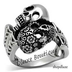 Men-039-s-Stainless-Steel-316-Day-of-the-Dead-Skulls-Fashion-Ring-Band-Size-8-13