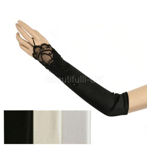 """44cm 17.5/"""" coude longueur mitaines en satin dentelle gants de mariée mariage prom party"""