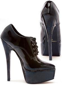 Black-Patent-Pumps-Oxford-Lace-Up-6-5-034-Heels-2-5-034-Platform-Sizes-5-14-652-OXFORD