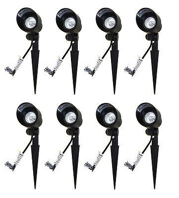 8 Malibu 8301-9604-01 20W Bi-Pin Cast Metal Spot Lights Uplights Spotlight BLACK