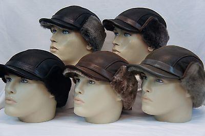 NWT 100/% Sheepskin Shearling Leather Fur Captain Elmer Fudd Men Winter Hat S-3XL