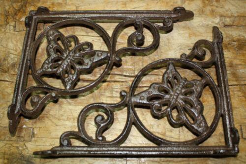 6 Cast Iron Antique Style BUTTERFLY Brackets Garden Braces Shelf Bracket HEAVY