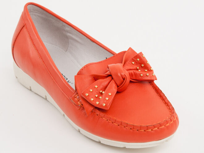 New  Francesco V. orange Leather Made in  shoes Size 38 US 8