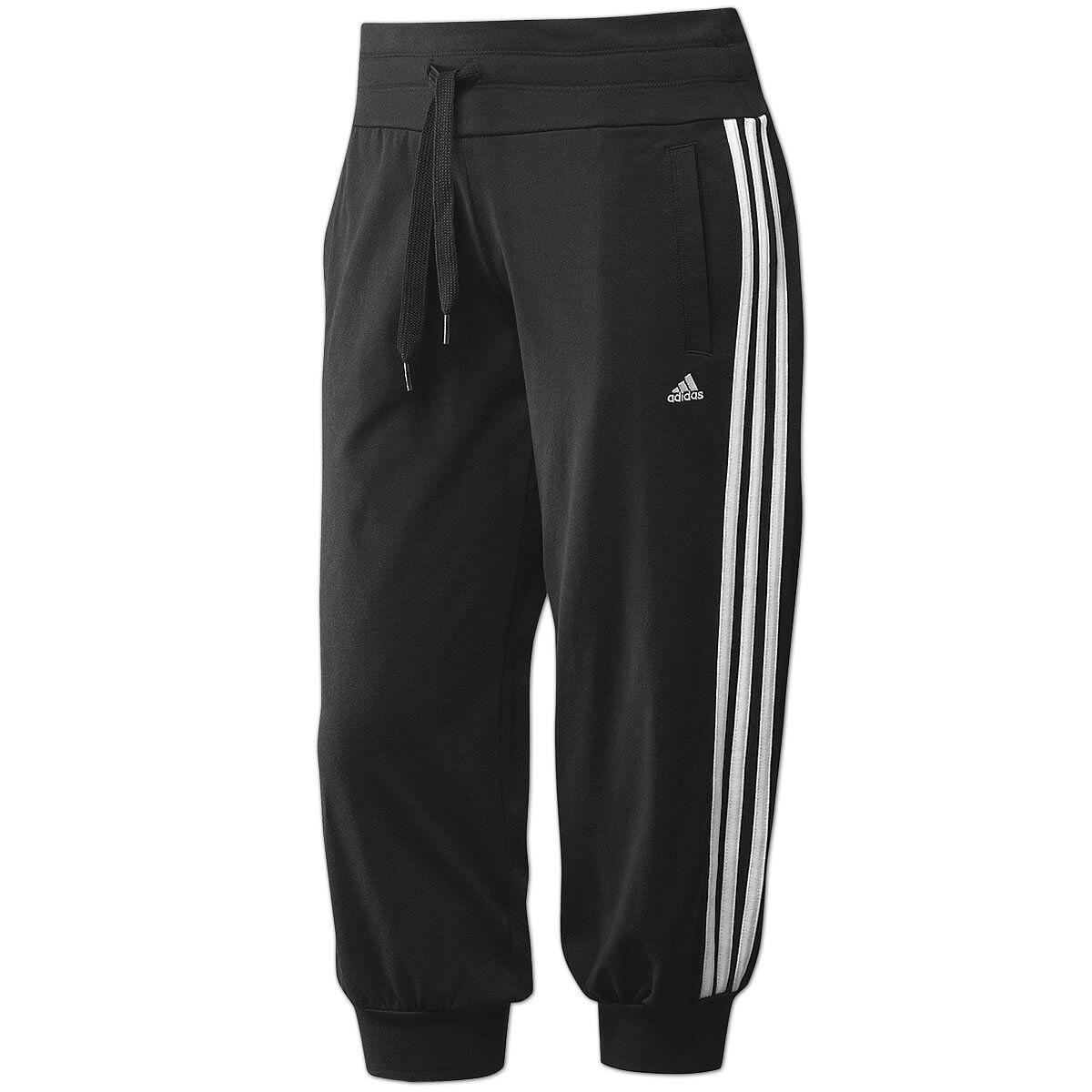 Adidas Damen 3 4 Hose Essentials 3-Streifen Capri Pant Freizeithose schwarz-weiß