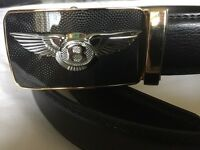 mens black leather belt with gold buckle and silver bentley limited edition