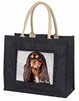 König Charles Hund' liebe Dich Papa' große schwarze Einkaufstasche Christmas P,