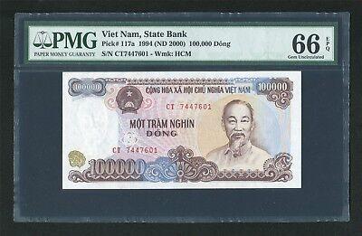 Viet Nam Vietnam 100000 Dong 1994 Pick 117.a UNC Uncirculated Banknote