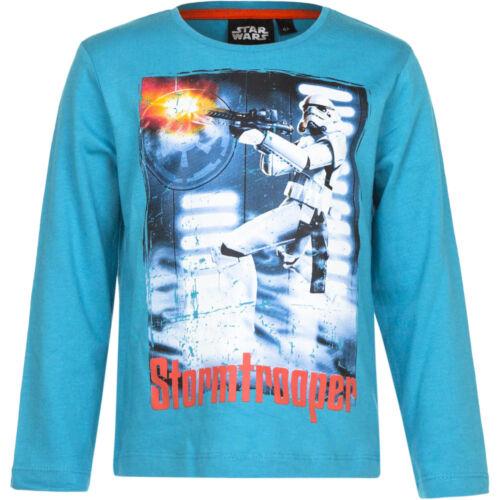 NUOVO Manica Lunga Top giovani Star Wars Pullover Maglione Grigio Turchese 104 116 128 140 #117