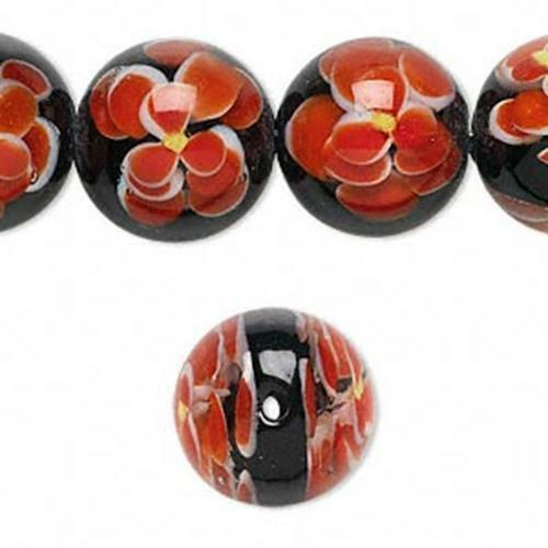 5755 Bead Glass Red Round Floral 15mm PK1  *UK  SHOP*