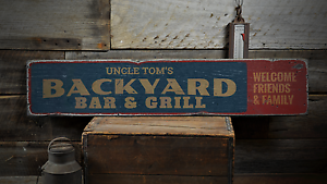 Rustic Distressed Wood Sign ENS1001374 Custom Name Backyard Bar /& Grill