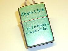 "ZIPPO CLICK LIGHTER - ""NOT A HOBBY, A WAY OF LIFE"" - NEVER STRUCK - 2008 - NEW"