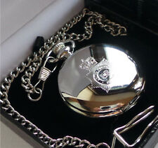 British Police Force UK Crest Logo Silver Pocket Watch Luxury Gift Case Officer