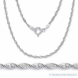 Solid-925-Sterling-Silver-1-7mm-Twist-Rope-Magic-Flex-Link-Chain-Necklace-Italy