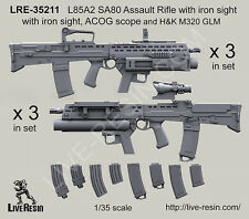 Live Resin 1/35 L85A2 SA80 Assault Rifle w/Iron Sight, ACOG Scope & H&K M320 GLM