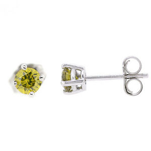 Image Is Loading 1 2ct Round Canary Yellow Diamond Stud Earrings