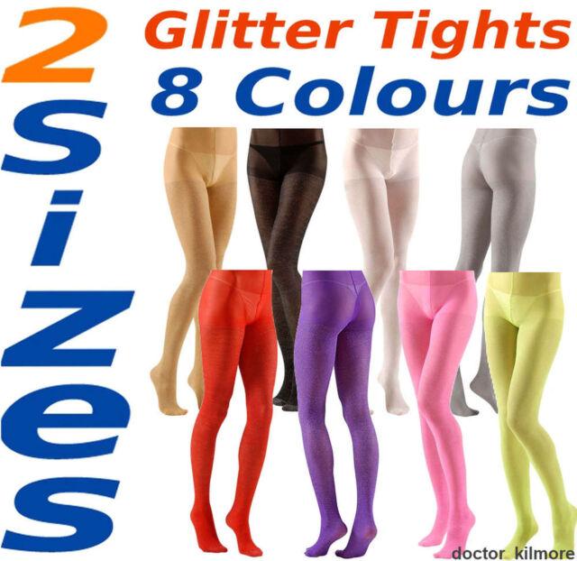 XL White Glitter Pantyhose Tights Sparkle 40 Denier Silver 2 Sizes