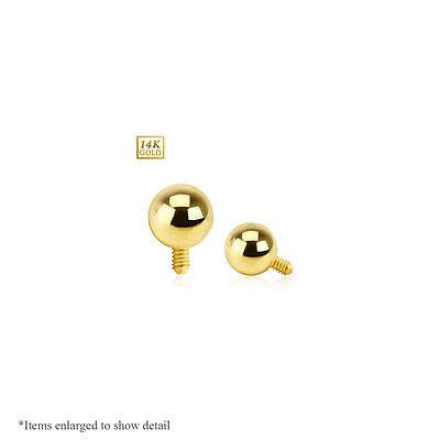 14 Karat 14K Solid Yellow Gold Round Prong CZ Gem Micro Dermal Anchor Top 14g