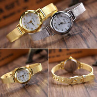 Fashion Bracelet Watch Women Stainless Steel Crystal Dial Quartz Wrist Watches