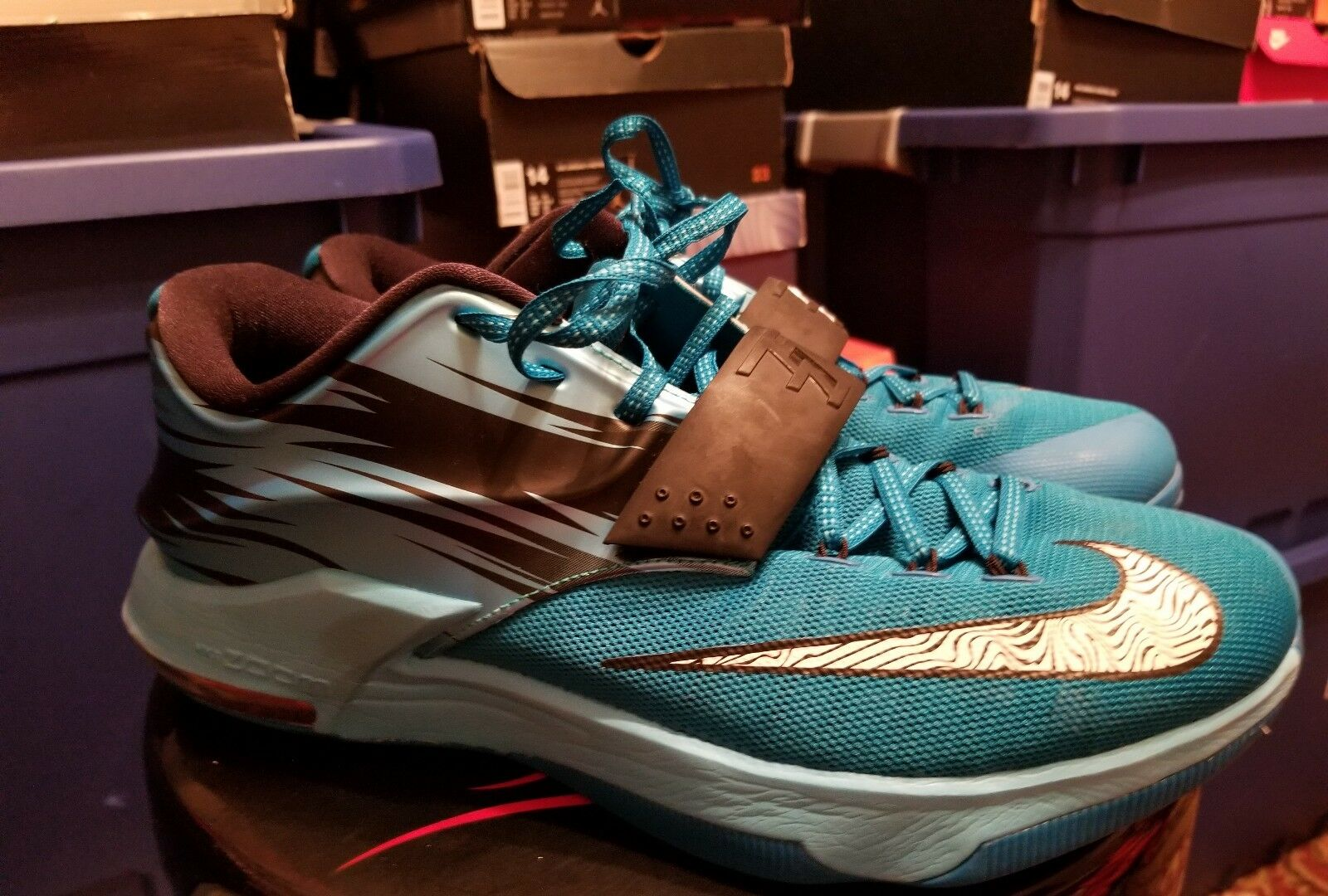 Nike KD VII 7 Light Blue Lacquer Clearwater Total Orange Size 12 653996-414