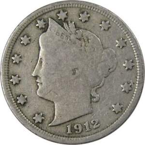 1912 Liberty Head V Nickel 5 Cent Piece F Fine 5c US Coin Collectible