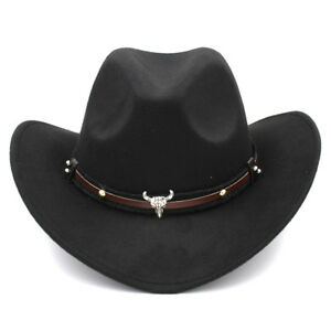 Image is loading Women-Men-Classical-Western-Style-Wide-Brim-Cowboy- 63d9b1cdfa8