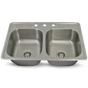 33\'\' x 22\'\' x 9\'\' Drop In, Top Mount Double Bowl Stainless Steel ...