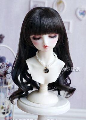 "6-7/"" 1//6 BJD Doll Wig Hair Medium Long Darker Red Brown Wavy Curly Tips Ends J-6"