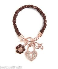 GUESS BROWN BRAIDED LEATHERETTE+MULTI ROSE GOLD TONE CHARMS+CRYSTAL BRACELET-NEW