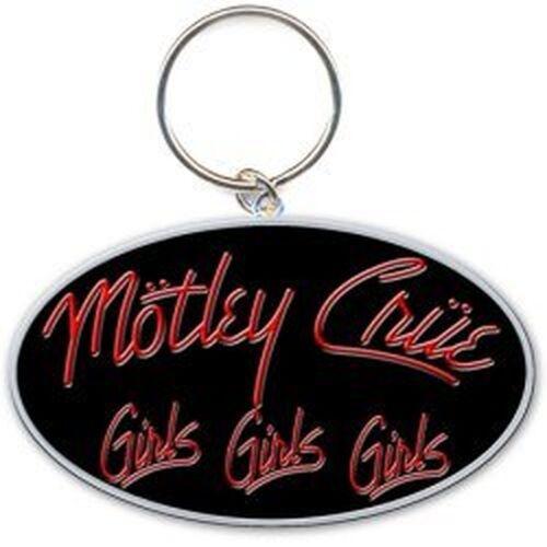 Motley Crue Girls Girls Girls rosso nero banda logo portachiavi in metallo uffic