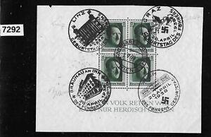 Austria & Germany fancy Cancel 1937 Adolf Hitler stamp sheet ScB102 Third Reich