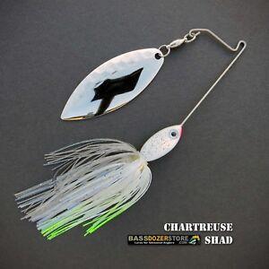 Bassdozer-spinnerbaits-SHORT-ARM-WILLOW-3-8-oz-CHARTREUSE-SHAD-spinner-bait