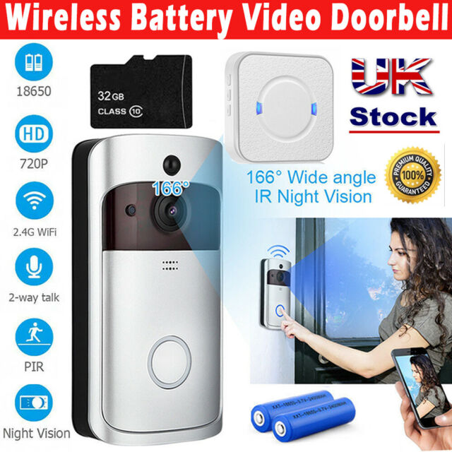 Elro Wireless Chime.Wireless Wifi Video Doorbell Camera Smart Ring Security Phone Door Bell Intercom